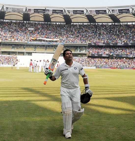 Sachin Tendulkar after his last innings against the Windies at the Wankhede