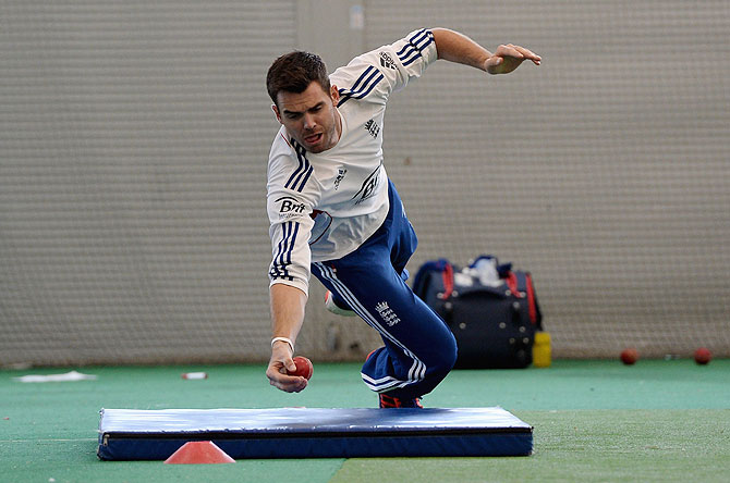 England's James Anderson takes a catch during a nets session at the Sydney Cricket Ground