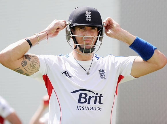 Kevin Pietersen waits to bat during an England nets session
