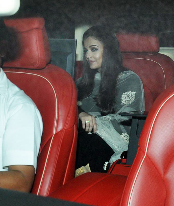 Aishwarya Rai-Bachchan arrives for the party on Monday