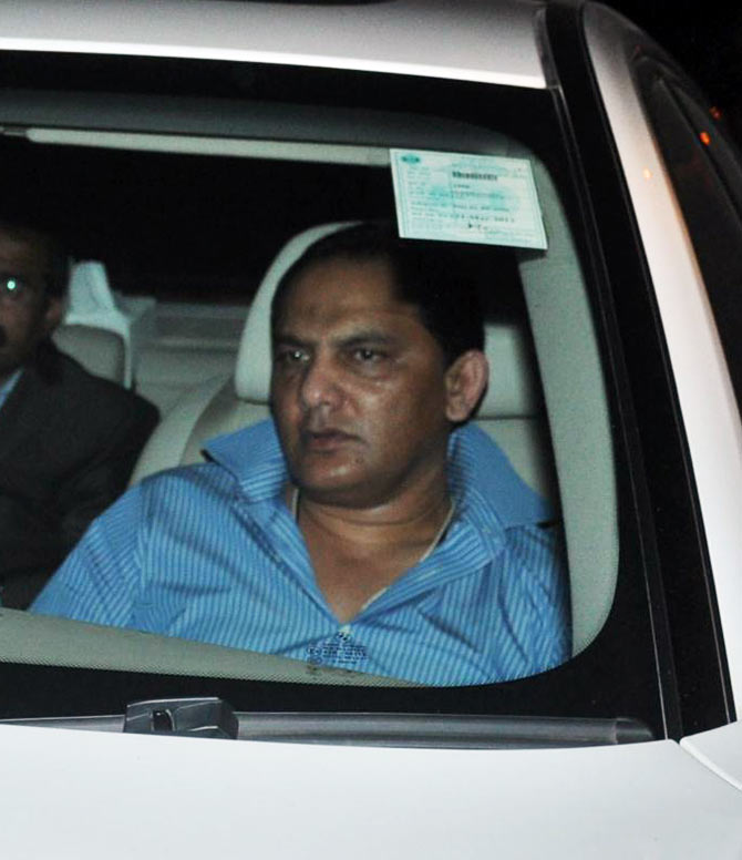 Former India captain Mohammad Azharuddin arrives for the party on Monday