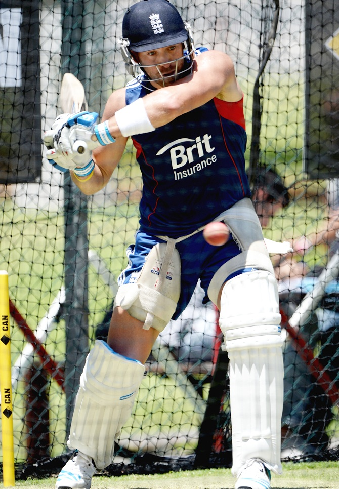Matt Prior of England bats during an England nets session