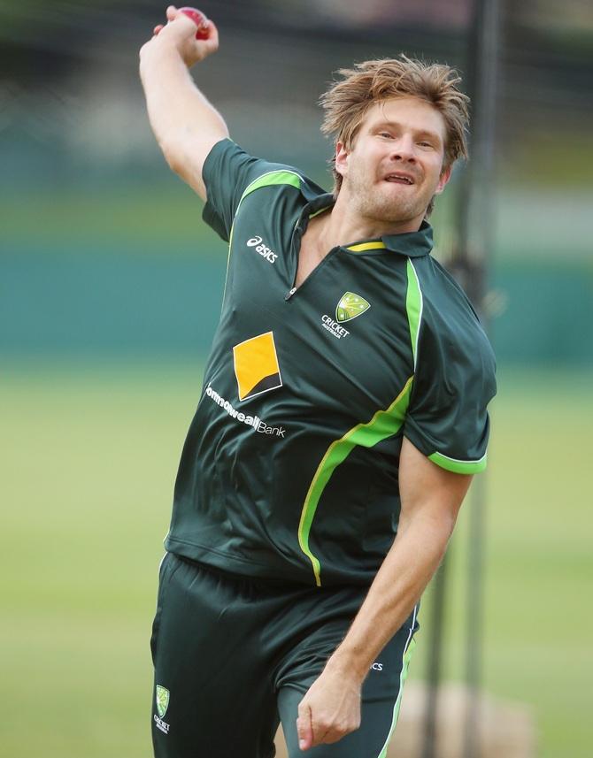 Shane Watson bowls during an Australian nets session