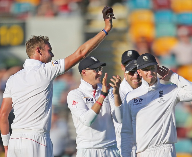 Stuart Broad of England celebrates after taking his fifth wicket