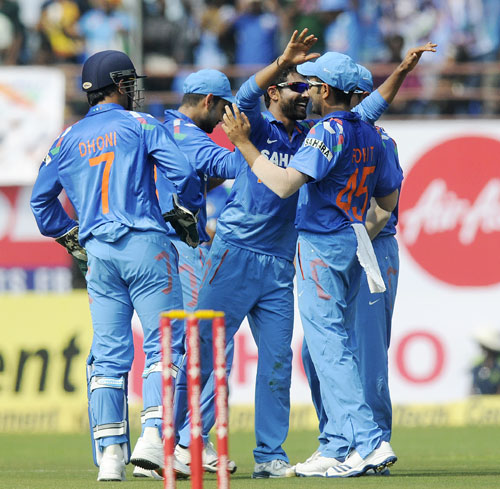 Ravindra Jadeja of India celebrates the wicket of Johnson Charles of West Indies