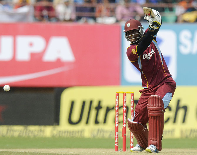 Marlon Samuels of West Indies bats
