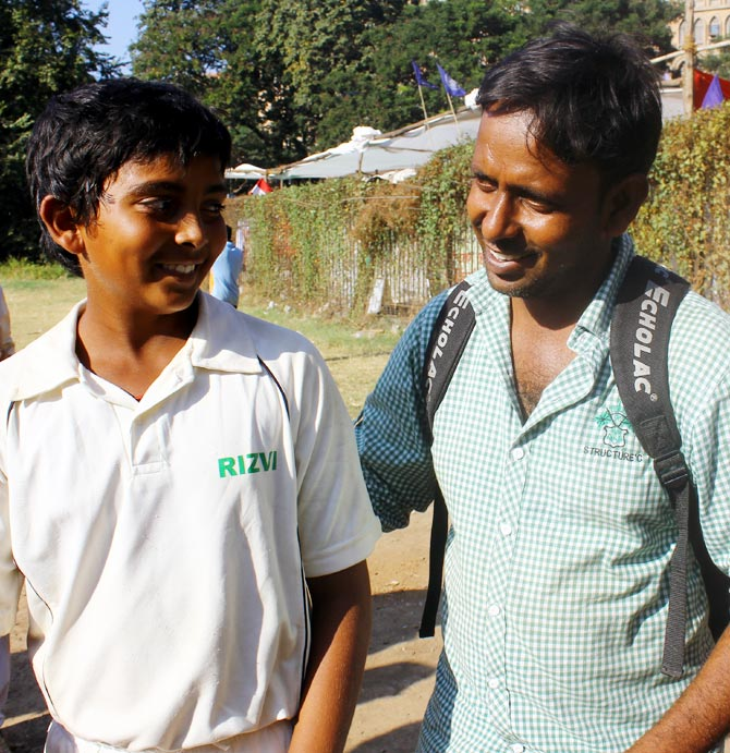 Prithvi Shaw (left) with his father Pankaj