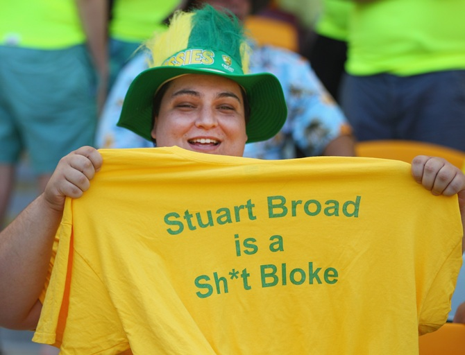 An Australian supporter wearing a Stuart Broad T-shirt