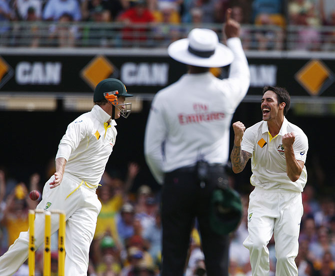 Mitchell Johnson of Australia celebrates after dismissing Graeme Swann of England during day two of the First Ashes Test at The Gabba in Brisbane on Friday