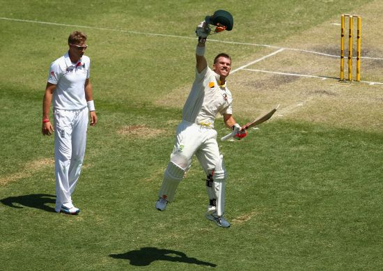 David Warner celebrates after reaching his century