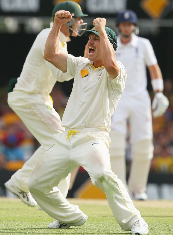 David Warner of Australia celebrates