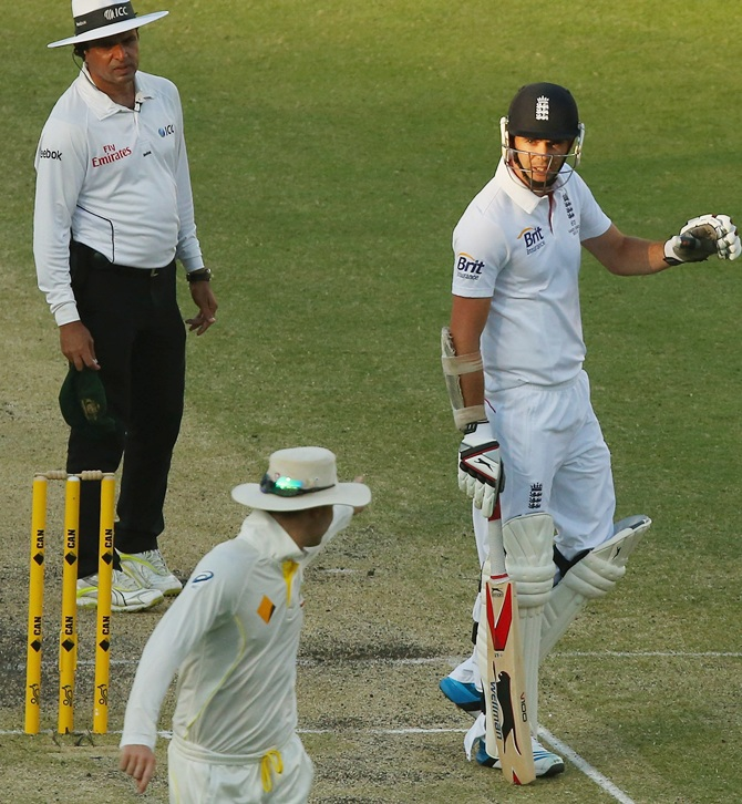 James Anderson and Michael Clarke take part in a furious exchange which involved both the umpires