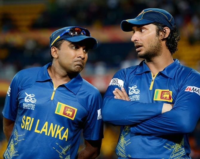 Mahela Jayawardene (left) with Kumar Sangakkara