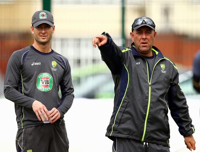 Australia coach Darren Lehmann (right) with Michael Clarke