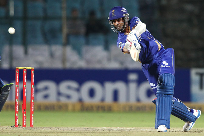 Ajinkya Rahane of Rajasthan Royals hits over the top for a boundary
