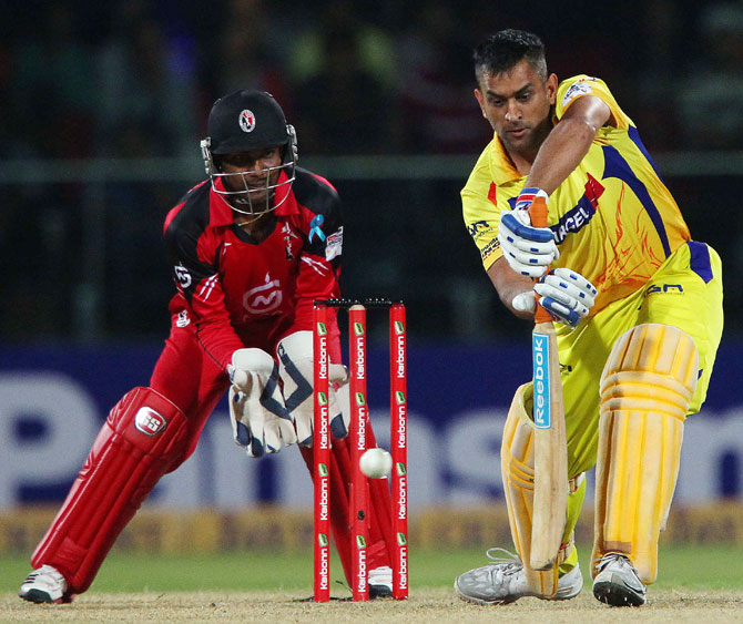 Chennai Super Kings captain MS Dhoni bats