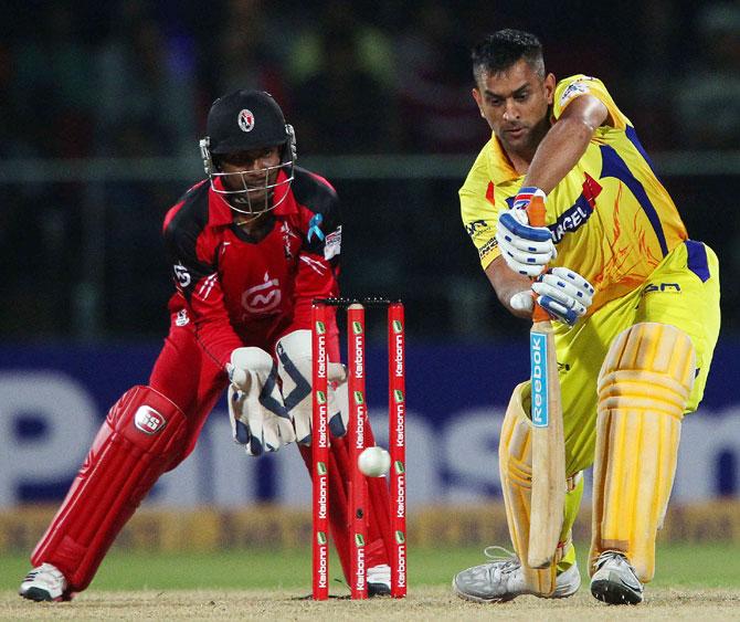 Chennai Super Kings captain MS Dhoni bats