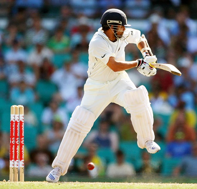Sachin Tendulkar turns the ball on the leg side during day three of the second Test match between Australia and India at the Sydney Cricket Ground on January 4, 2008.