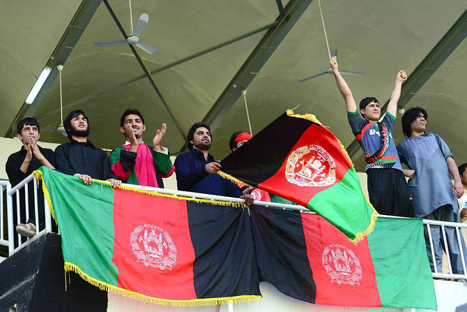 Afghanistan fans celebrate their teams victory
