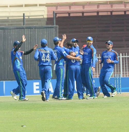 Afghanistan players celebrate their success