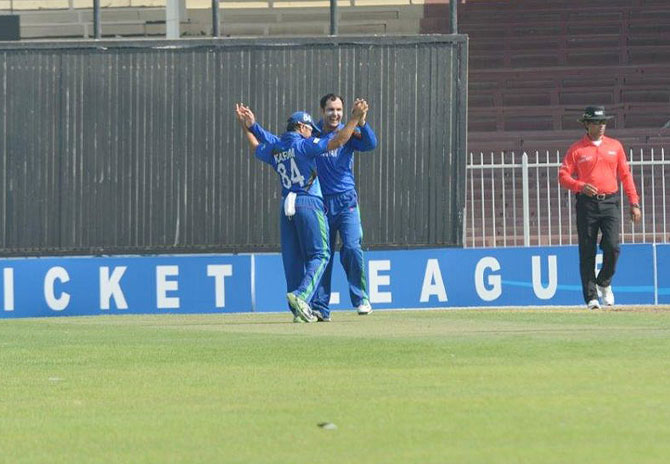 Mohammad Nabi of Afghanistan celebrates a wicket