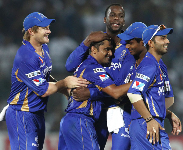 Pravin Tambe congratulated by teammates