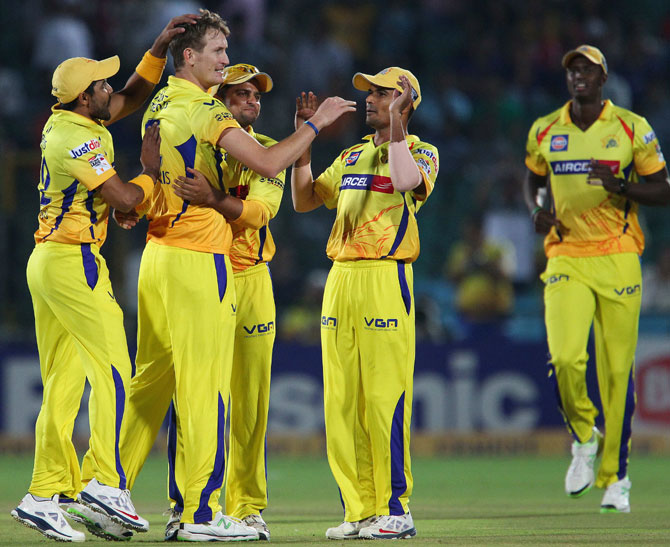 Chris Morris of Chennai Super Kings celebrates the wicket of Rajasthan Royals captain Rahul Dravid