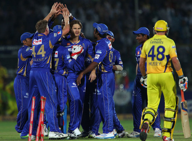 Shane Watson of Rajasthan Royals celebrates the wicket of Michael Hussey of Chennai Super Kings