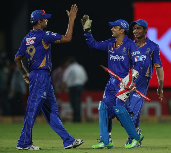 Rajasthan Royals players celebrate after winning the match