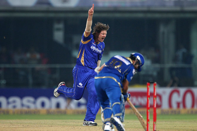 Shane Watson of Rajasthan Royals celebrates the wicket of Sachin Tendulkar of Mumbai Indians