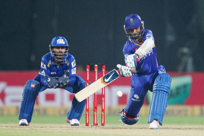 Ajinkya Rahane of Rajasthan Royals hits a boundary