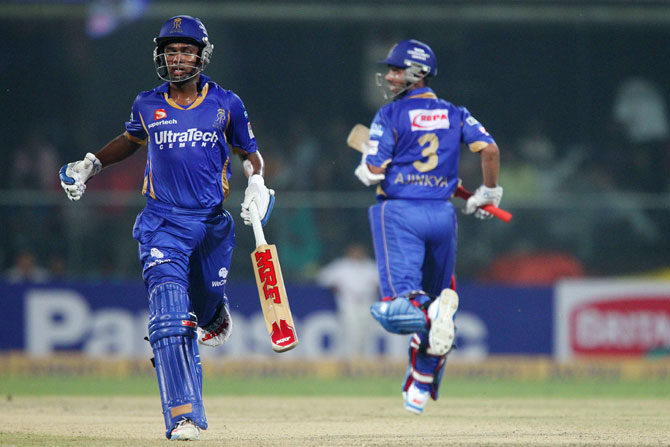 Ajinkya Rahane and Sanju Samson of Rajasthan Royals take a quick single