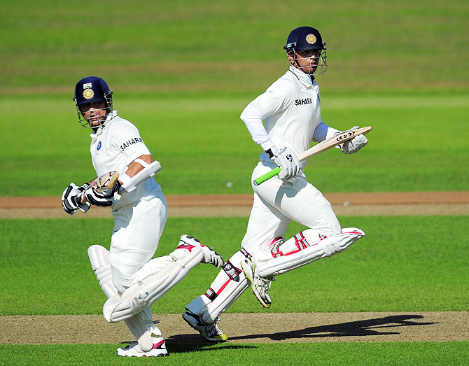 India batsman Sachin Tendulkar (left) and Rahul Dravid during day two of the tour match between Somerset and India at the county ground in Taunton on July 16, 2011