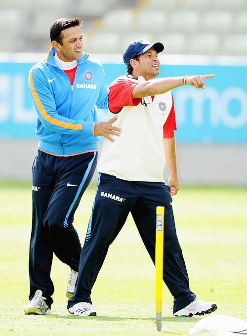 Rahul Dravid and Sachin Tendulkar during a nets session at Edgbaston in Birmingham, England on August 8, 2011