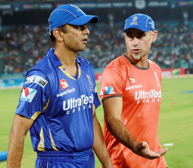 Rahul Dravid (left) with Rajasthan Royals head coach Paddy Upton