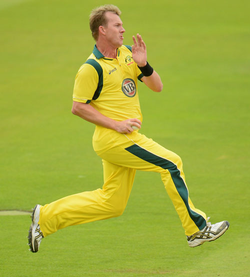 Brett Lee of Australia in action