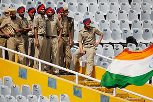 Security guards manning a cricket stadium