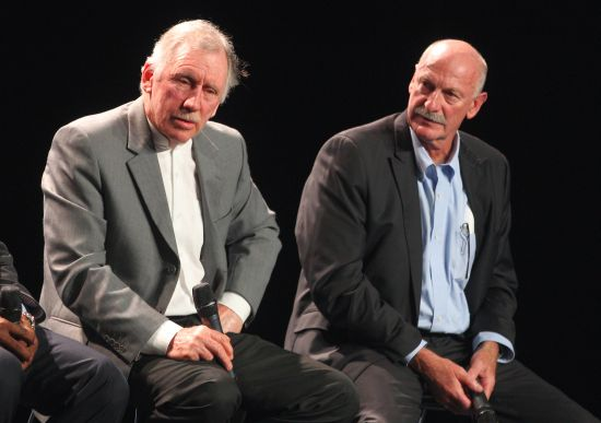 Australia cricket legends Ian Chappell (left) and Dennis Lillee