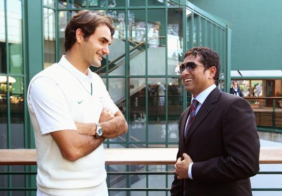Sachin Tendulkar with Roger Federer