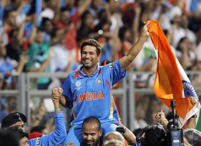 Sachin Tendulkar celebrates after winning the 2011 World Cup