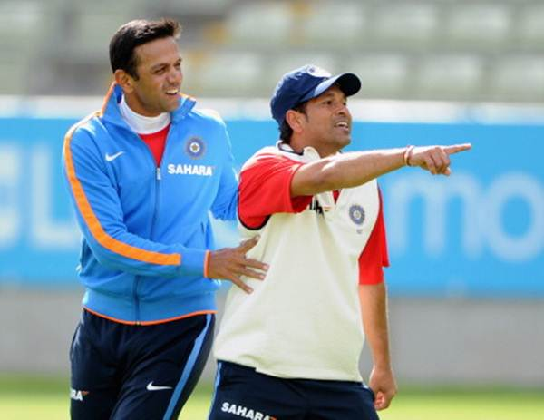 Rahul Dravid and Sachin Tendulkar during a nets session at Edgbaston on August 8, 2011