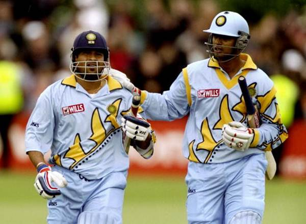 Sachin Tendulkar and Rahul Dravid during the Cricket World Cup Group A match against Kenya, in Bristol, England, on May 23, 1999