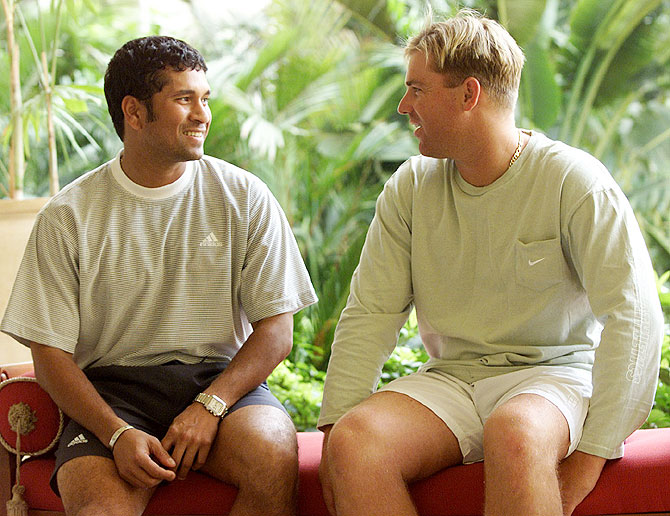 Sachin Tendulkar and Shane Warne at the Taj Mahal Hotel, in Mumbai, in 2001