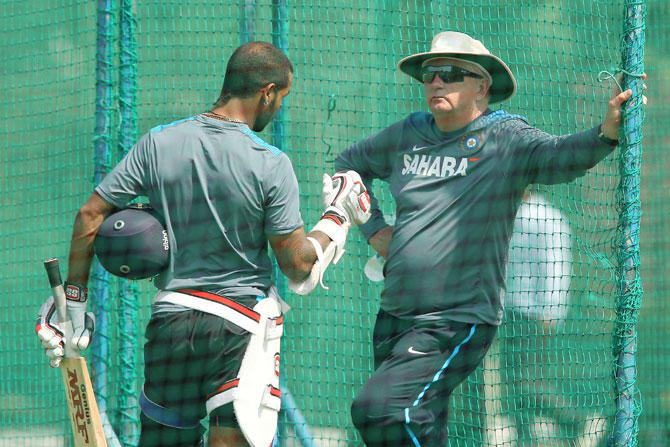 Shikhar Dhawan and Duncan Fletcher