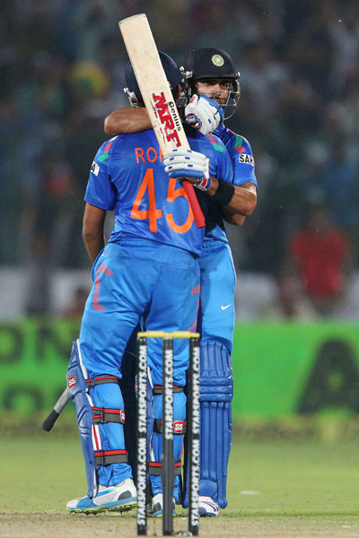 Rohit Sharma and Virat Kohli celebrate the win