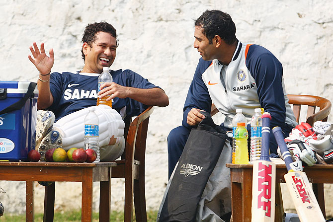 Sachin Tendulkar speaks with VVS Laxman