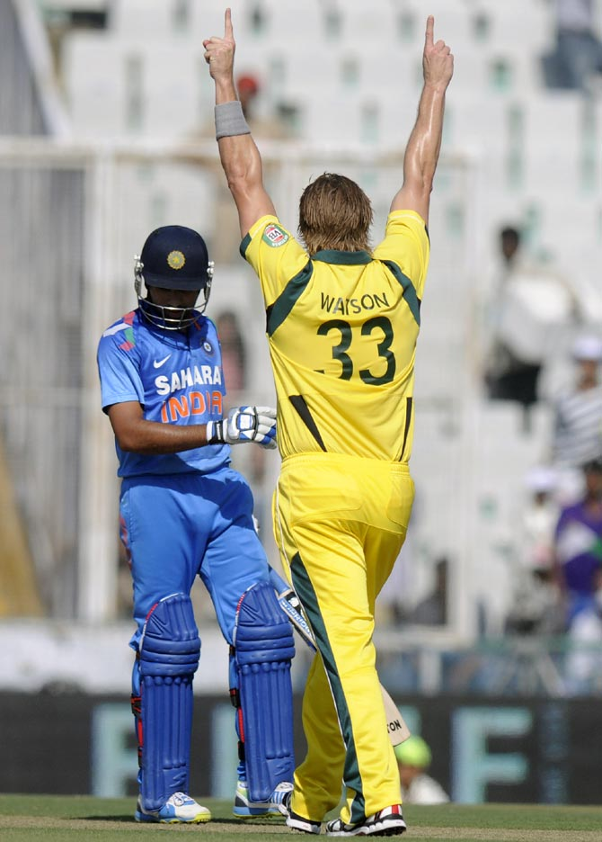 Shane Watson celebrates after dismissing Rohit Sharma