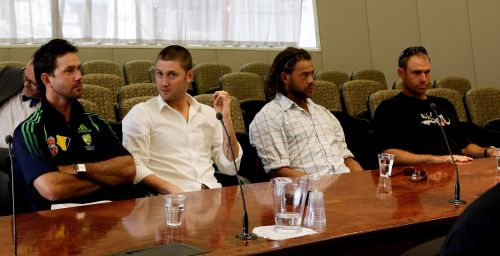 Ricky Ponting, Michael Clarke, Andrew Symonds and Matthew Hayden