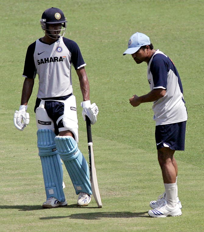 Manoj Tiwary (left) with Sachin Tendulkar