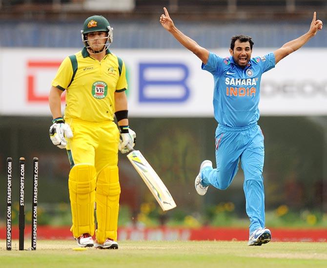 Mohammad Shami celebrates a wicket